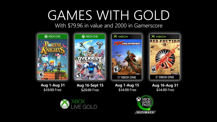 Games with Gold в августе: Red Faction II, Portal Knights, Override: Mech City Brawl и MX Unleashed