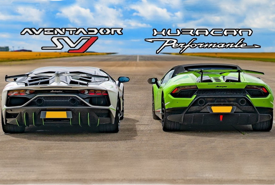 Дрэг-гонка: Lamborghini Aventador SVJ против Huracan Performante